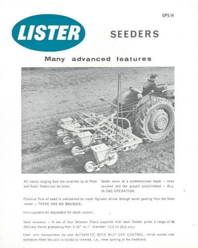 Lister Tractor Seeders Brochure -SW3
