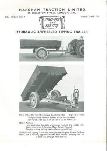 MARKHAM TRACTION LIMITED HYDRAULIC 2 WHEELED TIPPING TRAILER BROCHURE -BX111