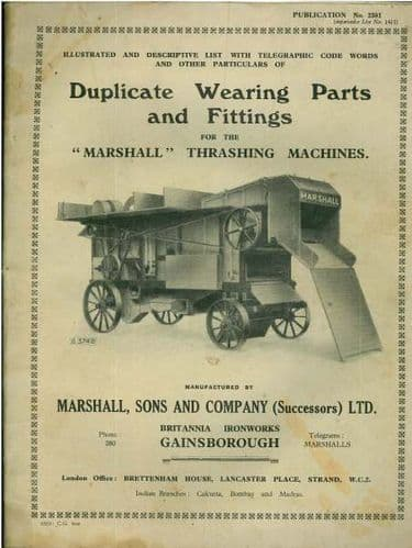 Marshall Thrashing Machines Parts Manual