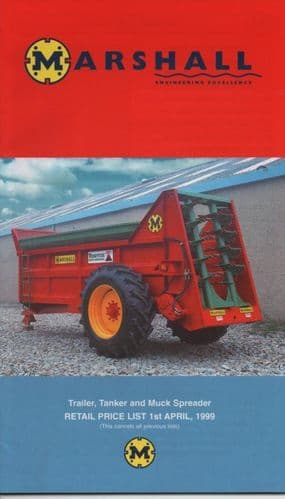 Marshall Trailer, Tanker and Muck Spreaders Price List - 1st April 1999