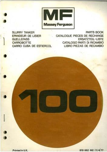 Massey Ferguson 100 Slurry Tanker Parts Manual - MF100