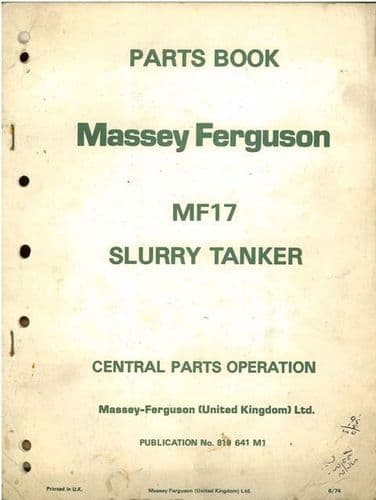 Massey Ferguson 17 Slurry Tanker Parts Manual - MF17