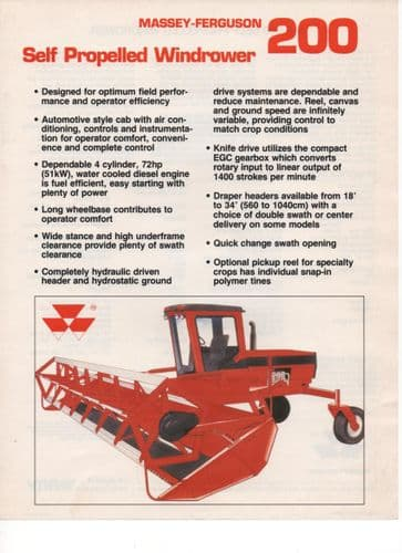 Massey-Ferguson 200 Self Propelled Windrower Brochure