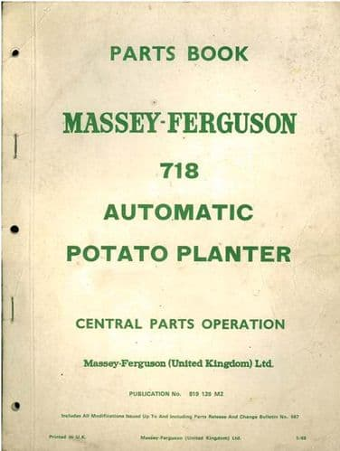 Massey Ferguson 718 Potato Planter Parts Manual