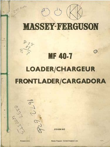 Massey Ferguson MF40 Loader Parts Manual - 40