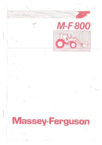 Massey Ferguson MF875 MF880 MF885 Loader Operators Manual - MF 875 880 885