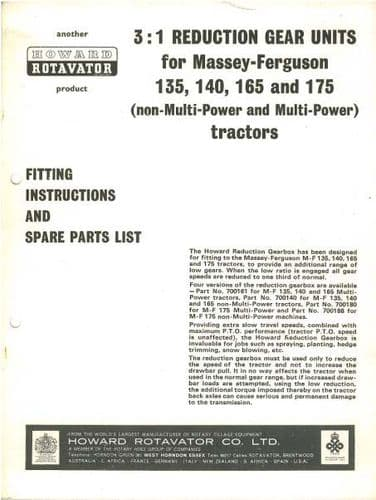 Massey Ferguson Tractor 135 140 165 & 175 Howard Reduction Gear Units Fitting Instructions & Parts