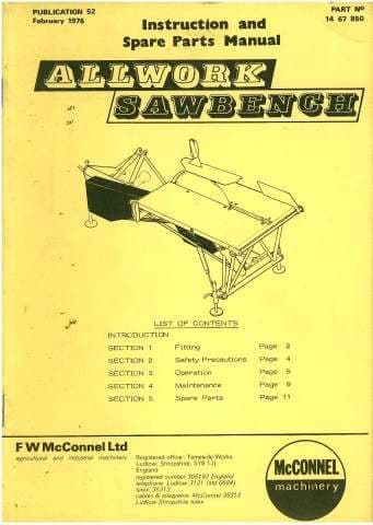 McConnel Allwork Mounted Sawbench Operators Manual with Parts List