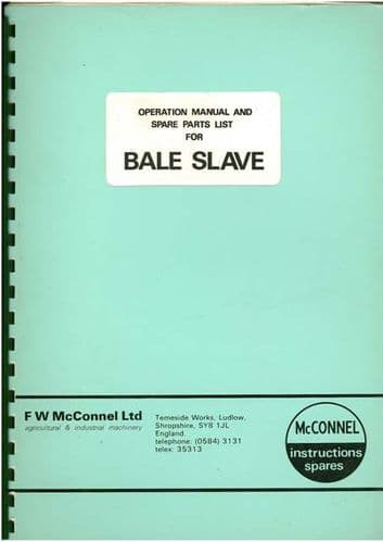 McConnel Bale Slave Operators Manual with Parts List
