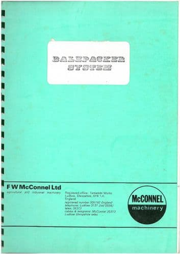 McConnel Balepacker System Operators Manual with Parts List