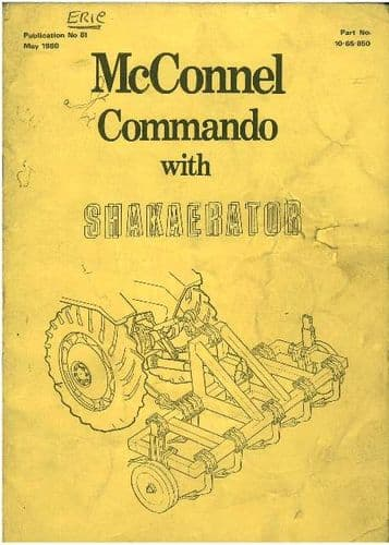 McConnel Commando with Shakaerator Operators Manual with Parts List