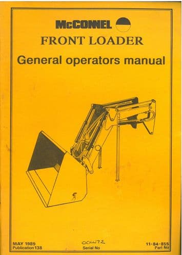 McConnel Front Loader 063 Operators Manual and  Parts list