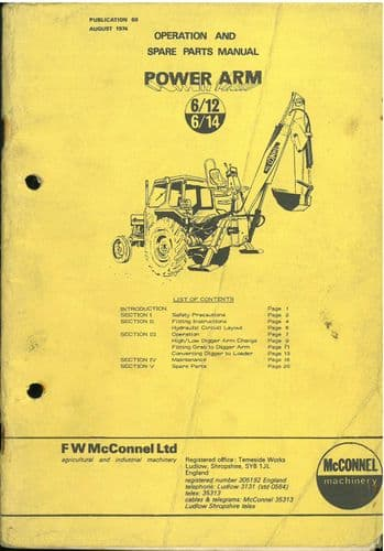 McConnel Power Arm 6/12 & 6/14 Ditcher Excavator Operators Manual with Parts List