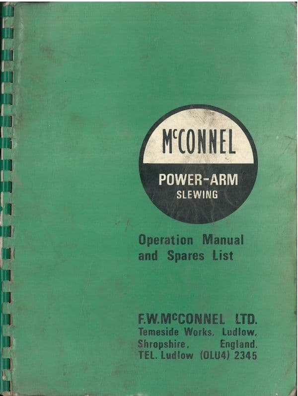 McConnel Power Arm Slewing Operators Manual with Parts List