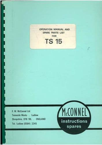 McConnel Tailslave TS15 Operators Manual with Parts Manual