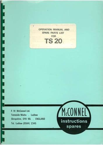McConnel Tailslave TS20 Operators Manual with Parts Manual