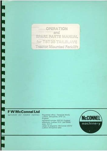McConnel Tailslave TST30 Operators Manual with Parts Manual