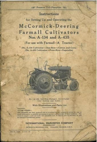 McCormick Deering Farmall Cultivator - Models A134 & A435 Instruction Operators Manual - ORIGINAL