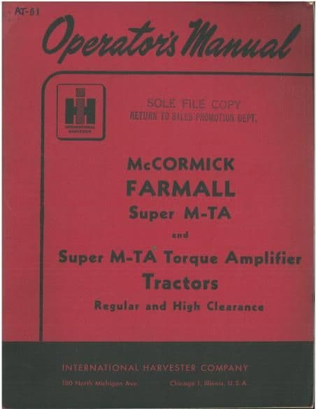 McCormick Farmall Super M-TA & Super M-TA Torque Amplifier Tractor Operators Manual
