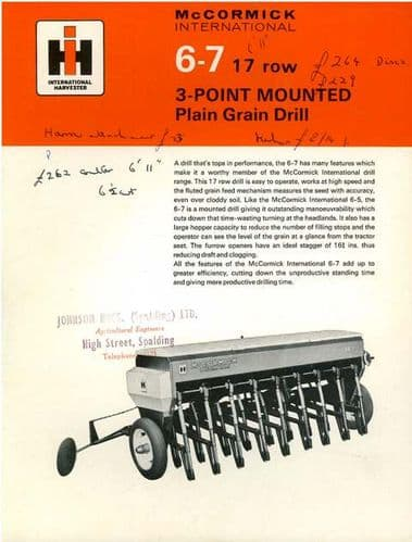 McCormick International 6-7 17 Row 3 Point Grain Drill Brochure