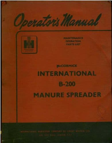 McCormick International B200 Manure Spreader Operators Manual with Parts List