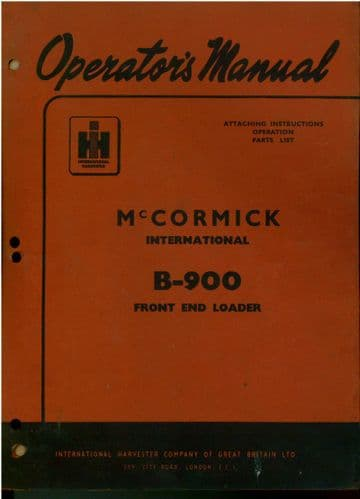 McCormick International B900 Front End Loader Operators Manual with Parts List