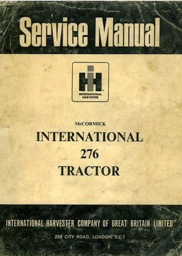 McCormick International Tractor 276 Workshop Service Manual