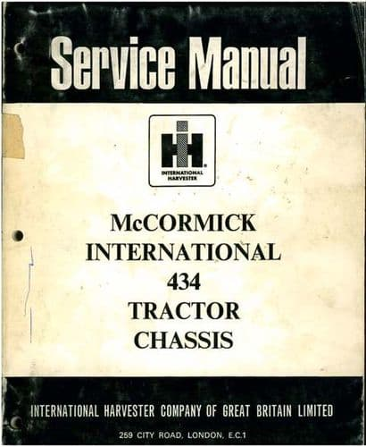 McCormick International Tractor 434 Service Workshop Manual