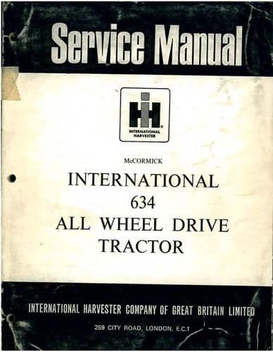 McCormick International Tractor 634 All Wheel Drive Service Workshop Manual