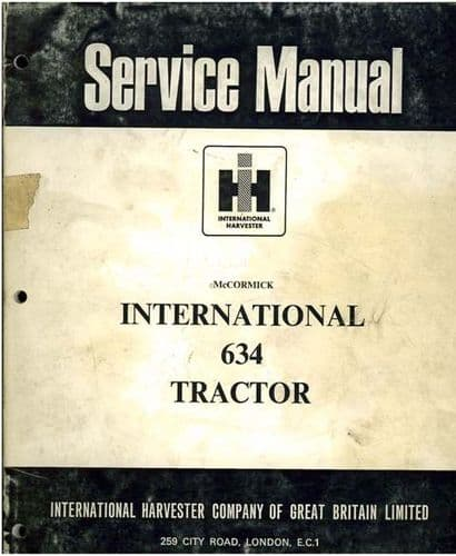 McCormick International Tractor 634 Service Workshop Manual
