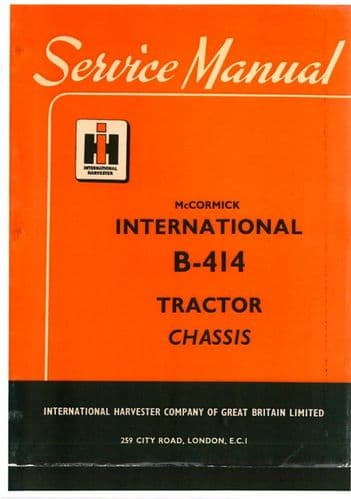 McCormick International Tractor B414 Workshop Service Manual