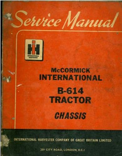 McCormick International Tractor B614 Workshop Service Manual