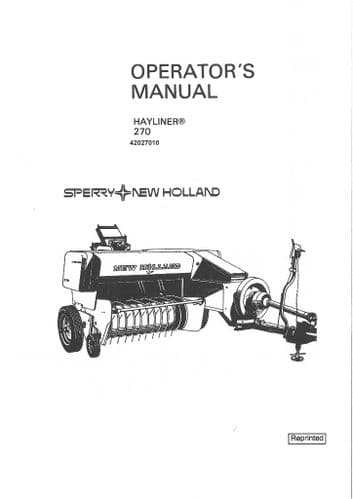 New Holland Baler 270 Hayliner Operators Manual