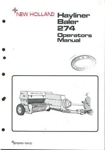 New Holland Baler 274 Hayliner Operators Manual