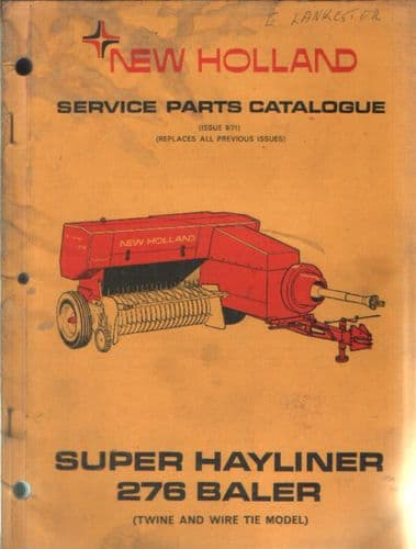 New Holland Baler 276 Super Hayliner Parts Manual