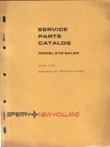 New Holland Baler 278 Parts Manual