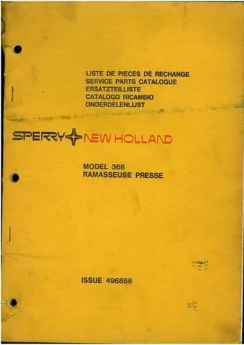 New Holland Baler 368 Parts Manual