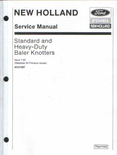 New Holland Baler Knotter Service Manual