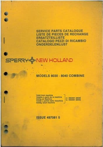New Holland Combine 8030 & 8040 Parts Manual
