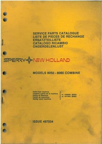 New Holland Combine 8050 & 8060 Parts Manual