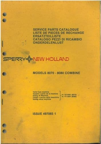 New Holland Combine 8070 & 8080 Parts Manual