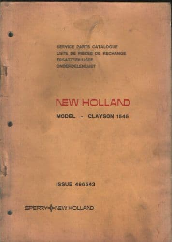 New Holland Combine Clayson 1545 Parts Manual