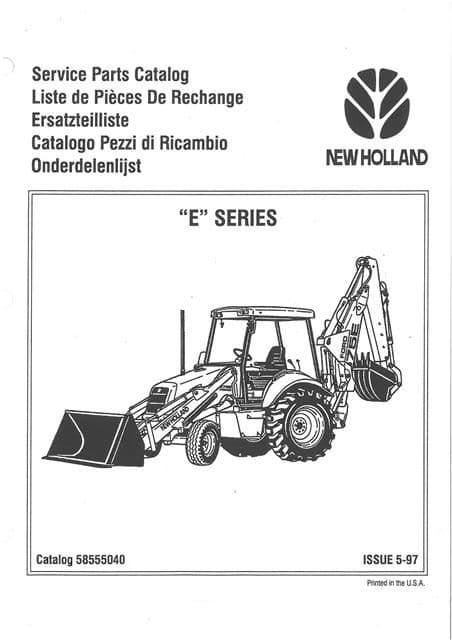 New Holland Digger Tractor Loader Backhoe 555E 575E 655E 675E Parts Manual