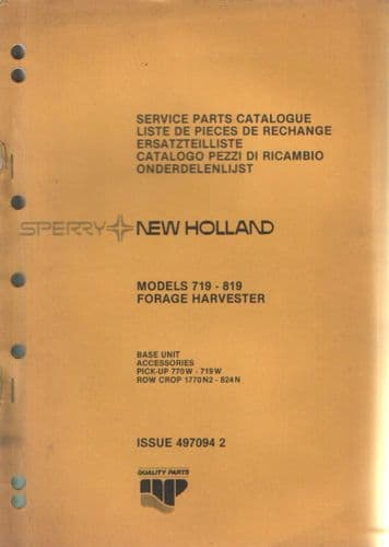 New Holland Forage Harvester 719 & 819 Parts Manual