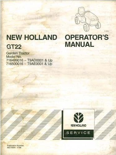New Holland Garden Tractor GT22 Operators Manual