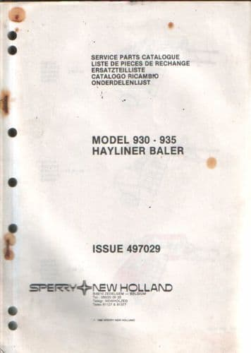 New Holland Hayliner Baler 930 & 935 Parts Manual