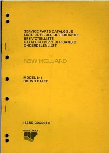 New Holland Round Baler 841 Parts Manual