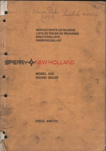 New Holland Round Baler 850 Parts Manual