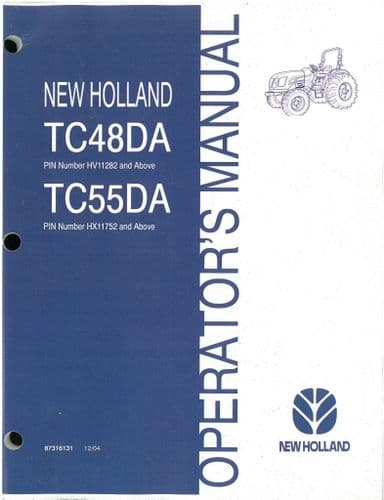 New Holland TC48DA, TC55DA, Tractor Operators Manual - ORIGINAL MANUAL