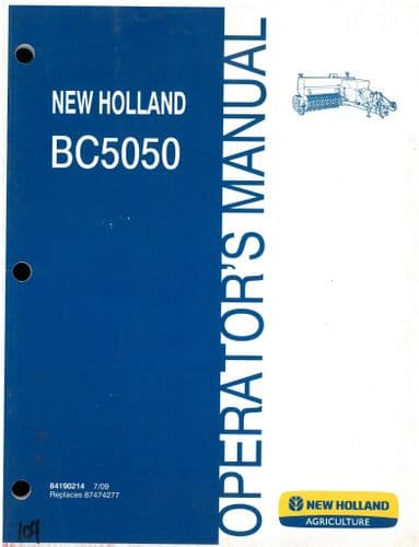 New Holland Tractor BC5050 Operators Manual - BC 5050